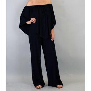 off the shoulder black jumpsuit XS James & Joy New